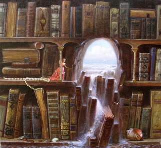 flooded library fantastical illustration